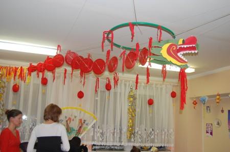 Китайский дракон символизирует счастье и благоденствие, олицетворяет силу отражения зла и недобрых духов. На нашем празднике он был главным героем.